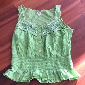 Free people Green Embroidered Tank Top elastic